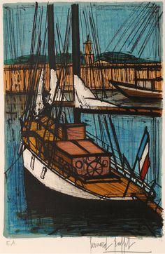 """Lithograph by Bernard Buffet (1928-1999),  1 9 7 9, """"L'Elan"""" from the series 'Saint-Tropez', Studio Mourlot, Paris."""