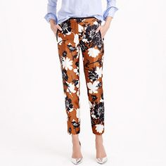 Our designers adapted a pattern from a vintage scarf for this flowery pant (which tapers at the ankle for a leg-lengthening look). The mix of black and white with warm ochre reminds us of crunchy autumn leaves (and looks great with a denim shirt).