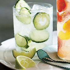 Cucumber Gin & Tonic | MyRecipes.com3   Kirby cucumbers   2   limes   2 cups  gin   1/2 cup  tonic concentrate (such as Jack Rudy Cocktail Co. Small Batch Tonic)   1   Kirby cucumber   1   lime   2 cups  chilled club soda