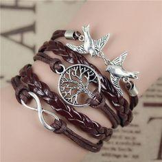Mix Infinity Love Leather Love Owl Leaf Charm Handmade Bracelet Bangles Friendship Items