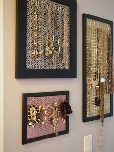 Have an overflowing jewelry collection? Looking for a way to show off all those sparkly bangles and those statement necklaces? Our custom made jewelry wall organizer is the PERFECT solution! Hang it just like you would a painting. Turn your wall into a beautiful jewelry display! PLEASE READ BEFORE ORDERING! Frames are offered in Black or White only. I am able to offer the background in a wide variety of colors. Standard color is black, if no request is made. If you would like another colo...