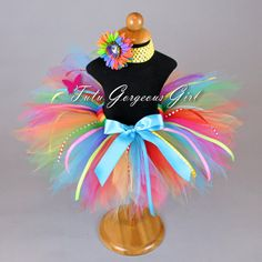 Rainbow Birthday Tutu with Ribbon by TutuGorgeousGirl on Etsy