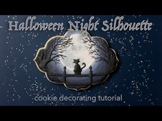 Halloween Night Silhouette Cookie Tutorial - SweetAmbs Halloween Cookies, Halloween Night, Cookie Videos, Cookie Tutorials, Cookie Decorating, Silhouette, Make It Yourself, Youtube, Royal Icing
