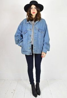 Oversized Vintage Washed Denim Jacket | Jacket jeans, Denim ...