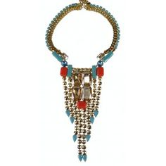 Yellow Gold Plated with Coral, Turquoise and Swarovski crystals  $247.50 tax incl.  http://www.dazzlingjewellery.net/shop/product.php?id_product=1050