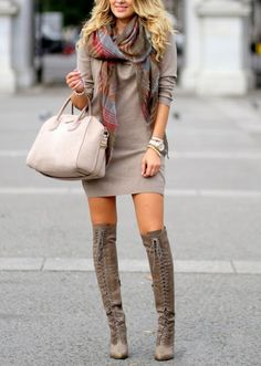 a1be8e5ed9f simple knit dress with tall lace-up boots. very chic! Look Fashion