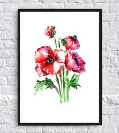 poppy watercolor print, watercolor flowers, floral watercolor, art print, wall art print, printable, floral print, watercolor poster, red This item is an instant download. What is an instant download? As soon as you purchase this digital print and the payment is confirmed, you will
