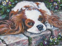 Blenheim Cavalier King Charles Spaniel CANVAS art print of LA Shepard painting 12X16 dog art