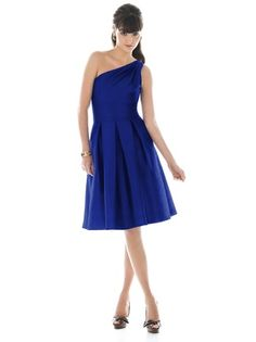 ALFRED SUNG D458 Style D458 is a one shoulder, cocktail length, bridesmaid dress by Alfred Sung. Made in a gorgeous dupioni, it features inverted pleats at the inset midriff and shirred detailing at the shoulder. It also has pockets at the skirt side seams. Alfred Sung's Style D458 comes in sizes 00-28 with an extra length option.