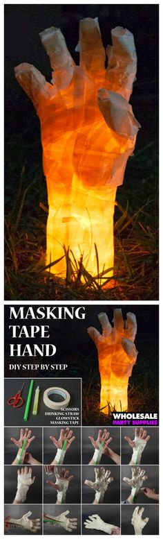 Masking Tape Hand ~ This creepy glow in the dark hand is the perfect DIY… - Halloween Ideas Halloween Zombie, Halloween Geist, Casa Halloween, Halloween Birthday, Spirit Halloween, Holidays Halloween, Happy Halloween, Halloween 2018, Halloween Sweet 16