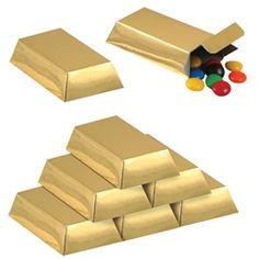Fill these gold bar favor boxes with loot to giveaway at your pirate party.