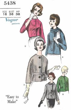 """Vintage 1960's Sewing Pattern Semi-Fitted Jackets Pocket Flaps Scarf B 36"""" (G) #Vogue"""