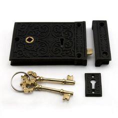 Damask Iron Rim Lock Set with Brown Porcelain Knobs - Left Hand - Black Powder Coat