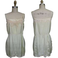 1930s Pale Green Silk Teddy with Lace Trim available from Noble Savage Vintage on Ruby Lane
