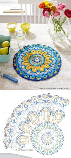 Crochet mandala rug crafts 68 New Ideas Motif Mandala Crochet, Mandala Rug, Crochet Coaster Pattern, Crochet Doily Patterns, Crochet Diagram, Crochet Chart, Crochet Doilies, Crochet Flowers, Doilies Crafts