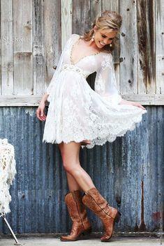 24 Cowgirl Boots Wedding Ideas For Country Celebration ❤ cowgirl boots wedding ideas short lace with sleeves sheri hill #weddingforward #wedding #bride #weddingoutfit #bridaloutfit #weddinggown