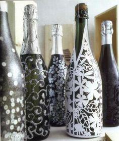 Decorazione bottiglie argento Natale