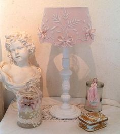 LAMP SHABBY CHIC wooden Lampshade in silk and lace old small