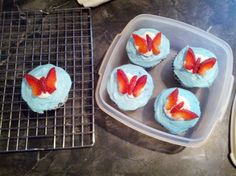 Butterfly cupcakes and they are rainbow inside. I also made the best tasting cake of the cupcake, as shown by my daughter devouring one before they were even frosted, which is usually the only part she'll eat. :)