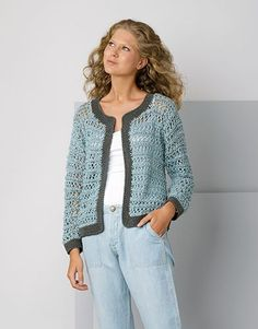 Aquatic open front cardigan pattern by natalia kononova – Artofit Beau Crochet, Pull Crochet, Knit Crochet, Cardigan Au Crochet, Crochet Jacket, Cardigan Pattern, Catalogue Katia, Knitting Patterns Free, Crochet Patterns