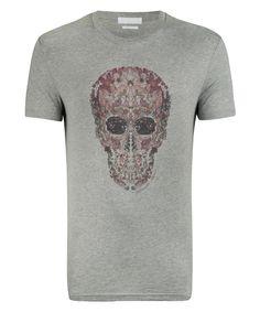 Alexander McQueen Grey Flower Skull T-Shirt - iVIP BlackBox