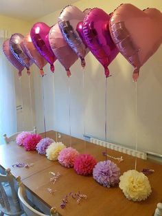 9 inch Wedding party baby shower christening balloon weights,table centrepieces and decorations tissue paper pompoms .balloons not included Christening Balloons, Ideas Aniversario, Pink Princess Party, Balloon Weights, Ideas Para Fiestas, Fiesta Party, Foil Balloons, Baby Shower Parties, Holidays And Events