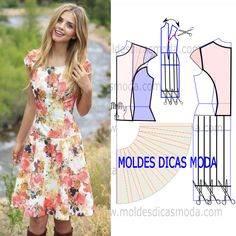 MOLDE VESTIDO CINTA DESCIDA -262 - Moldes Moda por Medida