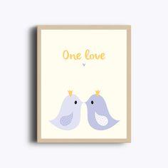 Affiche à imprimer One love, Décoration murale, bisous, impression, oiseaux, amoureux, chambre d'enfant, violet et jaune, poster de la boutique GraphiJoy sur Etsy