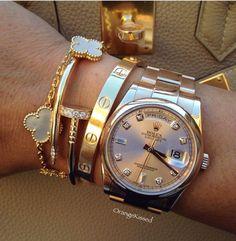 Rolex Cartier and VCA bracelets - Rolex Cartier and VCA bracelets - . - Rolex Cartier and VCA bracelets – Rolex Cartier and VCA bracelets – - Cartier Armband, Bracelet Cartier, Cartier Jewelry, Rolex Bracelet, Hermes Bracelet, Bracelet Love, Love Bracelets, Bracelet Watch, Arm Candy Bracelets