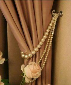 Pearl curtain tie-backs