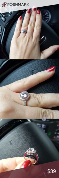 Ring with Cz crystal  silver 925 stamped Brand new. Perfect Valentine's day gift. Jewelry Rings