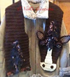 One of kind whimsical crocheted horse scarf. von ONeillsCreations