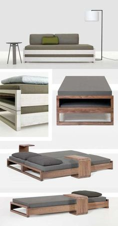 I saved this pin years ago and this is still my favorite stacking bed. The Guest bed by Hertel & Klahoefer: simple, minimal and elegant. Check the pictures below.Guest beds Simple stacking guest bed (king-size or twin) - DIY Really Clever Transf Space Saving Furniture, Furniture For Small Spaces, Home Furniture, Furniture Design, Bedroom Furniture, Furniture Ideas, Simple Furniture, Modular Furniture, Affordable Furniture