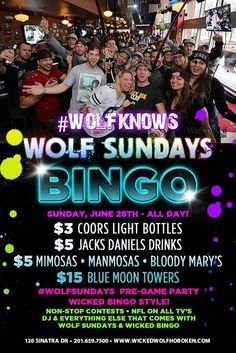 #WOLFSUNDAYS BINGO We're preparing for the NFL season by throwing an early WOLF SUNDAYS party- WICKED BINGO STYLE! June 28, 2015