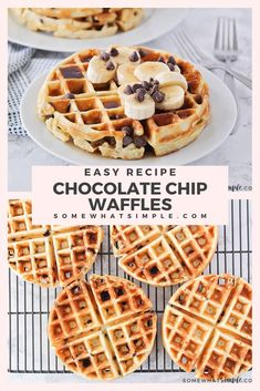 These fluffy and crisp chocolate chip waffles are the perfect sweet treat to make breakfast extra special! Made from scratch, these homemade waffles are simple to make and so delicious! These waffles are perfect for celebrating that special occasion or just making a Sunday breakfast extra sweet! via @somewhatsimple Egg Recipes For Breakfast, Sunday Breakfast, Savory Breakfast, Quick And Easy Breakfast, How To Make Breakfast, Dessert Recipes, Breakfast Club, Brunch Recipes, Breakfast Ideas