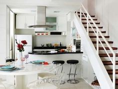 Loft over kitchen Bathroom Interior Design, Kitchen Interior, Kitchen Design, Kitchen Decor, Kitchen Under Stairs, Small Appartment, Garage Guest House, Tiny Loft, Tiny Living Rooms