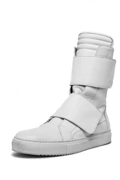 0990377111fb EZ LAB men s white double strap high-top leather sneaker White High Top  Sneakers