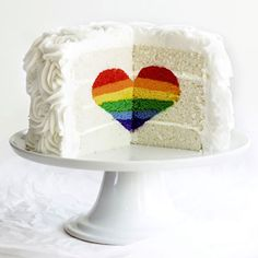 This cake has a surprise inside; cut it open to reveal a rainbow-colored heart!