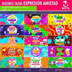 Diseño-plantilla-estampar-taza-tazon-mug-personalizado-amistad-expresion-social-colorido-amigos-detalle-min Social, Candy, Easy Cards, Friends Day, Stampin Up, Expressionism, Friendship, Friends, Sweets