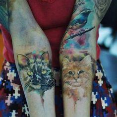 #cat #bird #tattoo #tatuagem #watercolor #electricink #everlast #like #love #sketch #girl #freebird #franltattoo #portrait #patch #inkmachines @electricink @inspirationtatto @catracalivre @equilattera