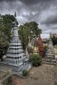 Stormy Stupas--Stupas on the grounds of Wat Ounalom temple in Phnom Penh, Cambodia
