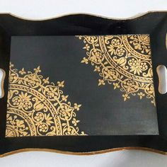 The tray I worked on - The tray I worked on Informations About Stencıl çalıştığım tepsi Pin You can easily use my pr - Stencil Decor, Stencil Designs, Stencils, Painted Wooden Boxes, Painted Trays, Decoupage Box, Decoupage Vintage, Wood Crafts, Diy And Crafts