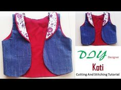 DIY Designer Koti\Short Jacket Cutting And Stitching Full Tutorial Chudidhar Neck Designs, Blouse Neck Designs, Dress Designs, Dress Sewing Patterns, Clothing Patterns, Sewing Art, Stitching Dresses, Patterned Jeans, Kurti Designs Party Wear