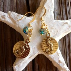 "Seahorse Earrings  Adorable double sided Antique Gold Seahorse Coin Charms with WireWrapped Iridescent Crystal dangles! 14k gold plated 1 3/4"" to top of Earwire DesignsByKaren Jewelry Earrings"
