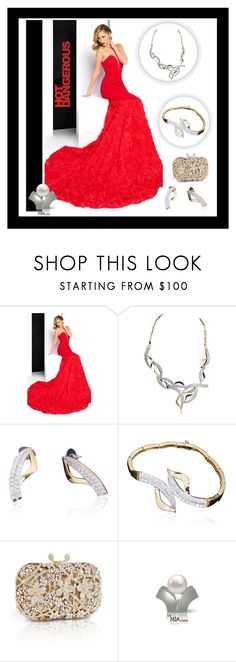 """""""Elegant"""" by freida-adams ❤ liked on Polyvore featuring Mac Duggal, Aeon, Elegant, diamonds, goldjewelry and redgown"""
