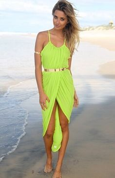 Vestido correa de espagueti-amarillo 13.60