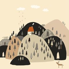 Here feels like home sometimes. #illustration #mountains #deer #wolf #home