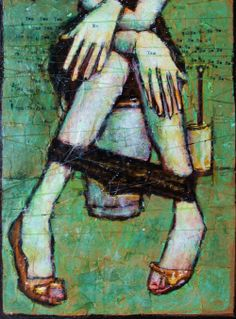 """""""Her and her self """" ( mixed media, paper on wood, 21x30cm)."""