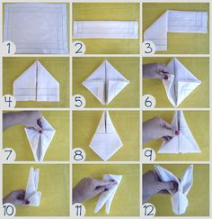Páscoa na Mesa – Diy para complementar a mesa posta - Bunny Crafts, Easter Crafts, Fancy Napkin Folding, Deco Table Noel, Paper Flowers Craft, Easter Table Decorations, Holidays And Events, Napkins, Type 3
