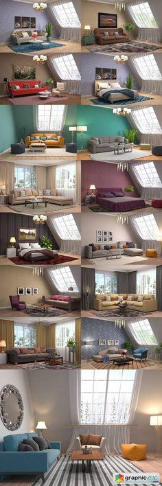 Interior 3D Illustration  stock images